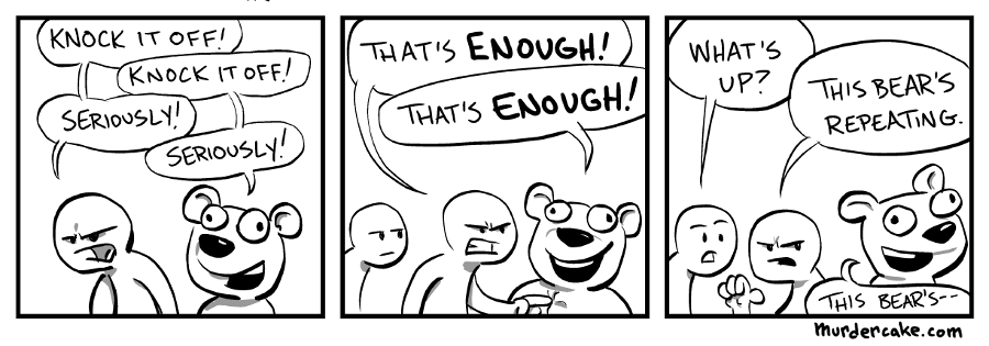 Five strips in and doing puns. Uh-oh.